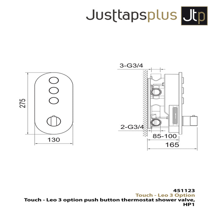 Just Taps 451123 Leo 3 Option Push Button Thermostat Dimensions
