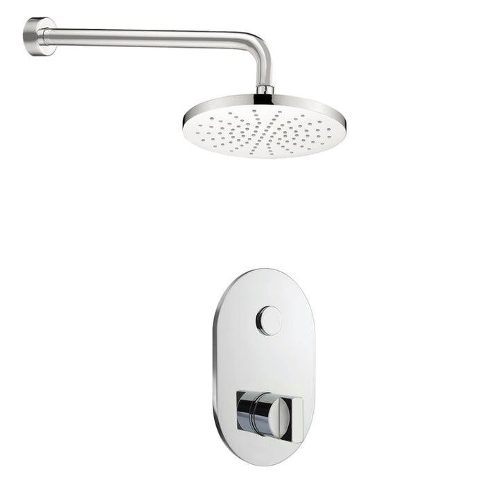 Just Taps COM062 Leo Chrome 1 Outlet Touch Thermostat with Overhead Shower Front View