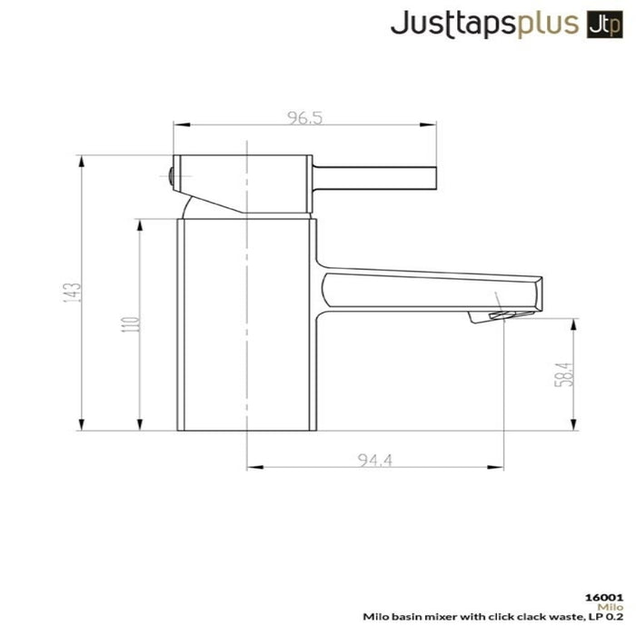 Just Taps 16001 Milo Basin Mixer Tap Dimensions