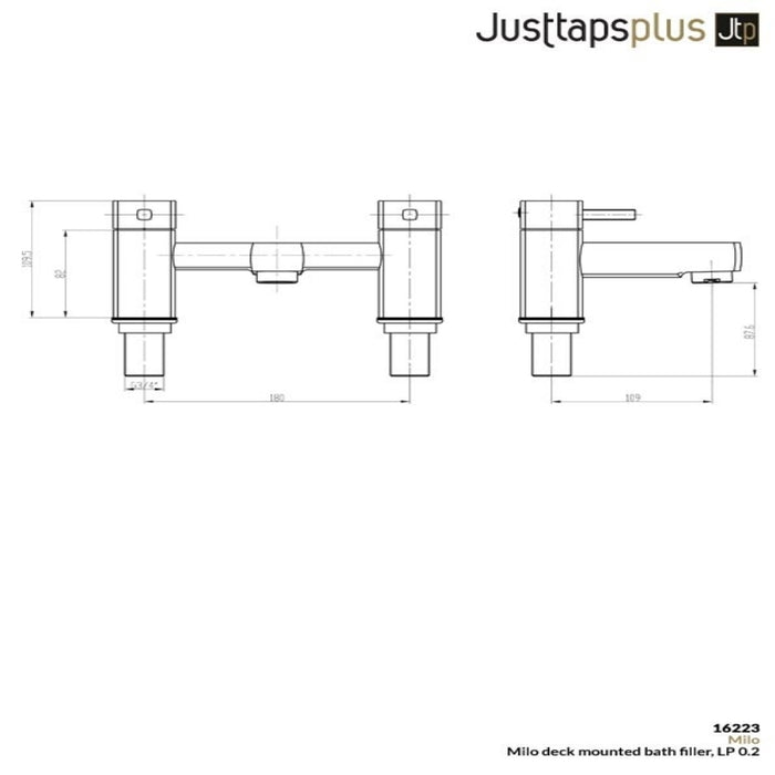Just Taps 16223 Milo Dual Lever Bath Filler Tap Dimensions