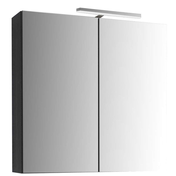 Just Taps MR80BK Black Mirror Cabinet with Light Front View
