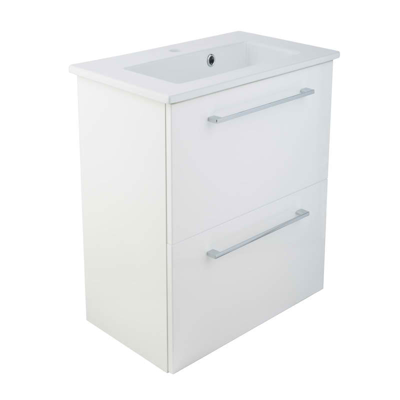 Just Taps PWM611W+SP600BS Pace 600 White wall Mounted Unit with two drawers front view