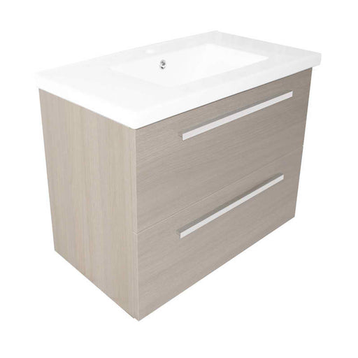 Just Taps PWM803W+P800BS 800 Pace Grey Wall Mounted Unit with Two Drawers and Basin