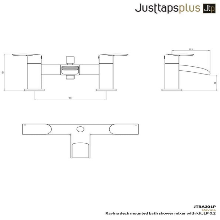 Just Taps Ravina JTRA301P Deck Mounted Bath Shower Mixer Dimensions