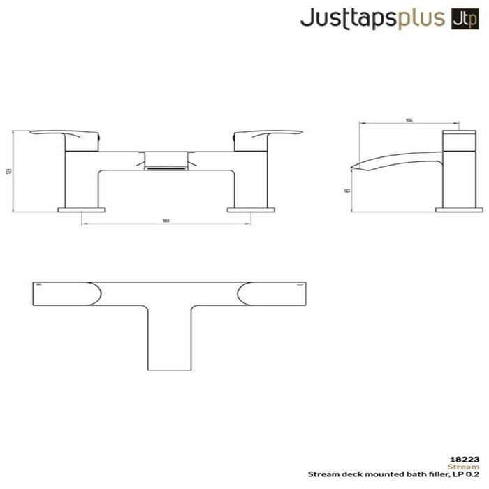 Just Taps Deck Mounted Chrome Bath Filler 18223 Dimensions