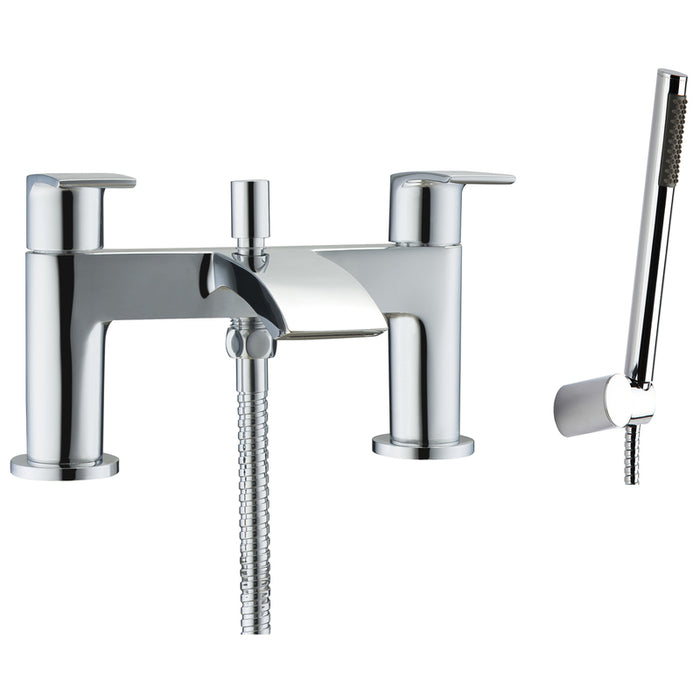 Just Taps 18275 Stream Chrome Bath Filler with Kit Front View