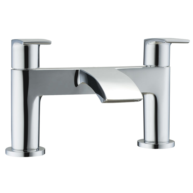 Just Taps 18223 Stream Chrome Deck Mounted Bath Filler Tap Front View