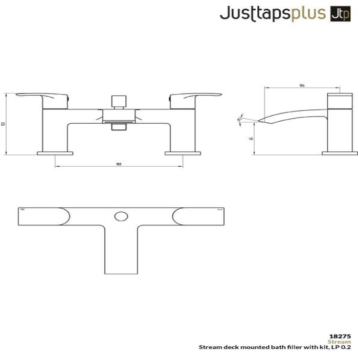 Just Taps Stream 18275 Deck Mounted Bath Filler with Kit Dimensions
