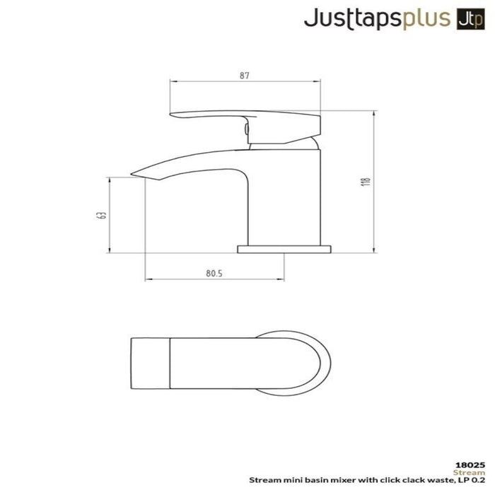 Just Taps 18025 Stream Single Lever Basin Mixer Tap Dimensions