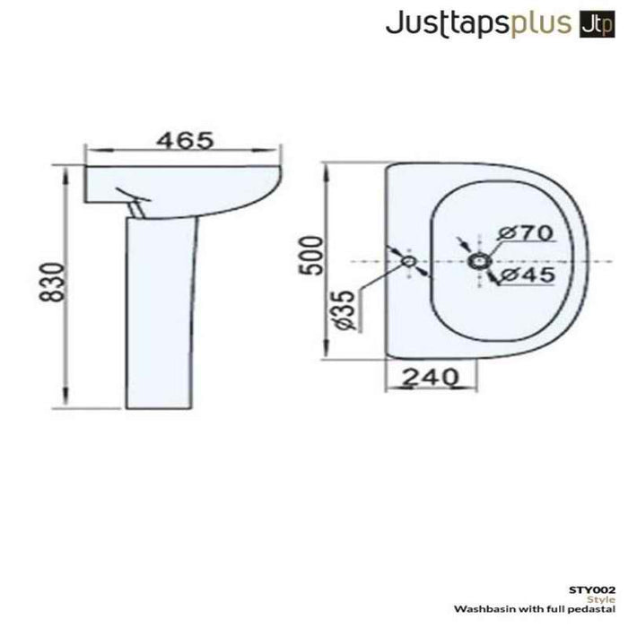Just Taps STY002 Style Full Pedestal dimensions