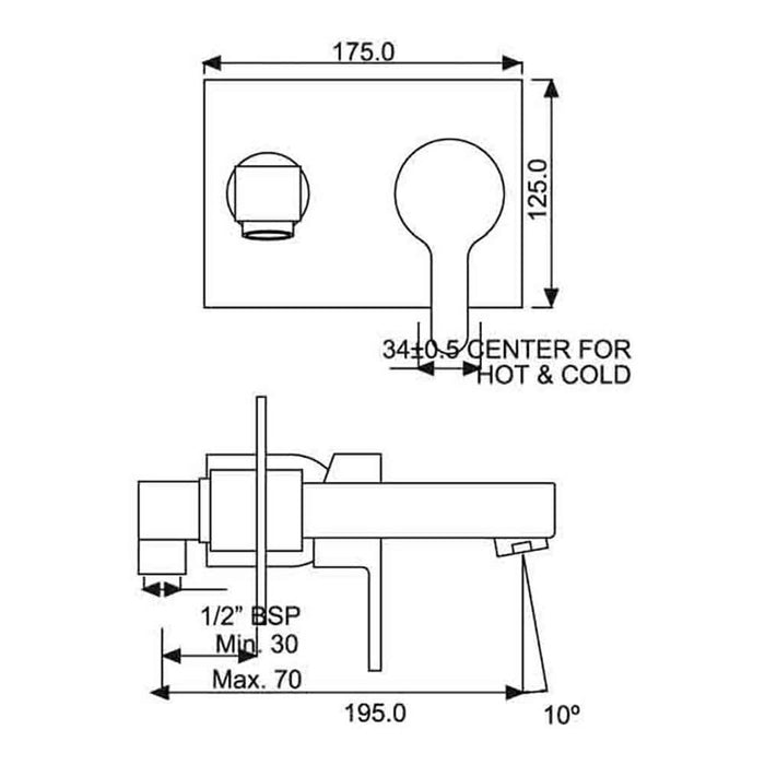 Just Taps Fusion Built In Concealed Manual Valve With Bath Tap - 29131