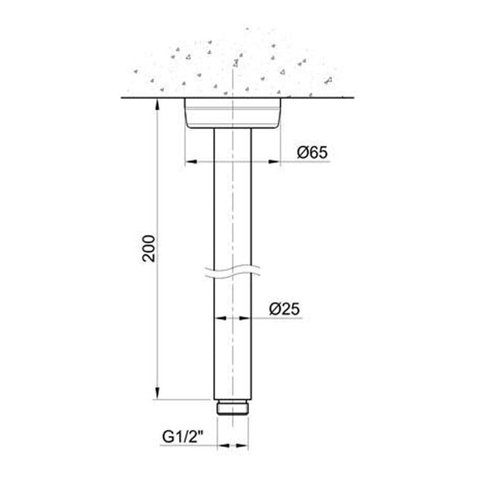 Dimensions of Just Taps Inox Round Ceiling Shower Arm