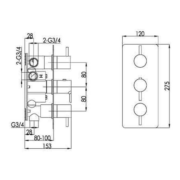 Dimensions of Just Taps Inox IX691 Concealed Thermostatic Shower Valve