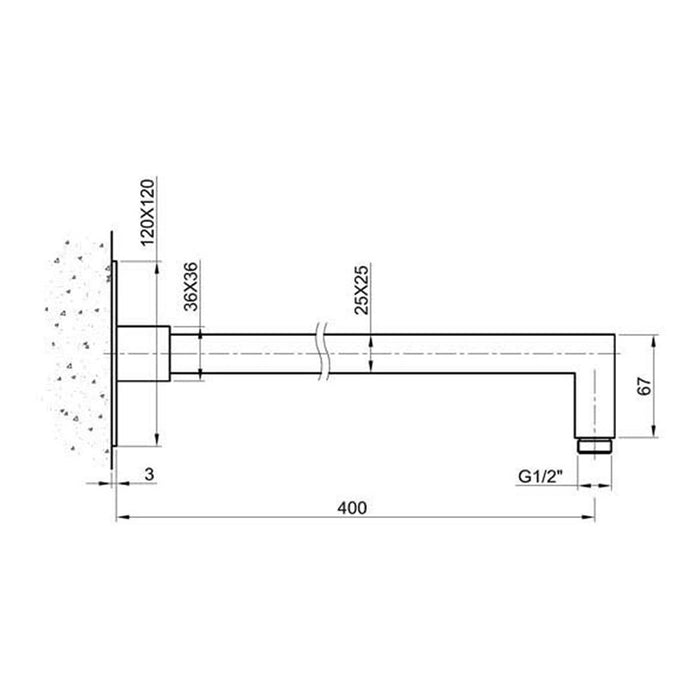 Dimensions of Just Taps Inox Square Shower Arm