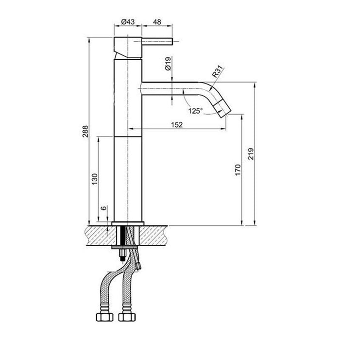 Just taps IX009 mixer dimensions and technical drawings