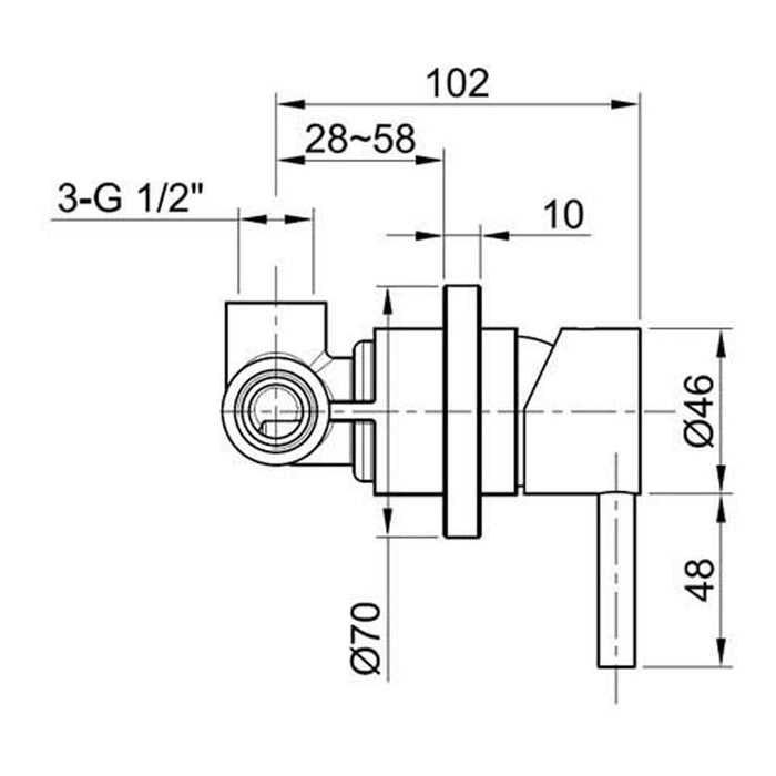 IX213 from just taps shower valve technical drawing