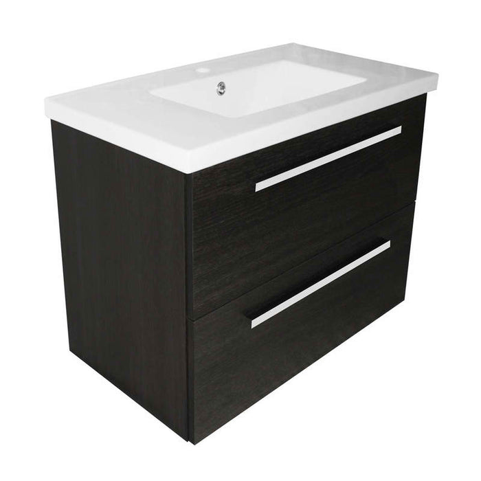 Just Taps PWM803BK+P800BS Pace 800 Wall mounted unit with drawer and basin front view