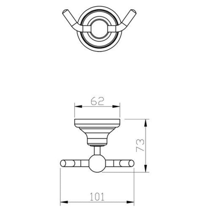 Mayfair MAT408 Matrix Chrome Robe Hook dimensions