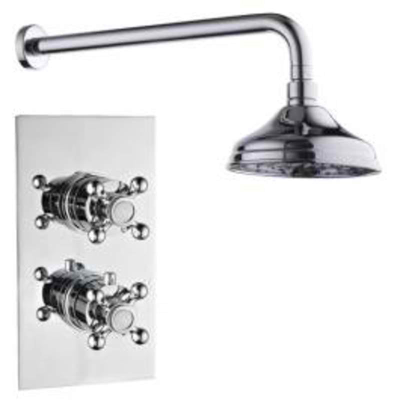 Mayfair OXF100 Oxford Chrome Thermostatic Valve and Shower Arm Front View