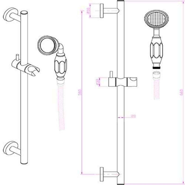 Mayfair OXF400 Oxford Chrome Thermostatic Valve and Shower Arm dimensions