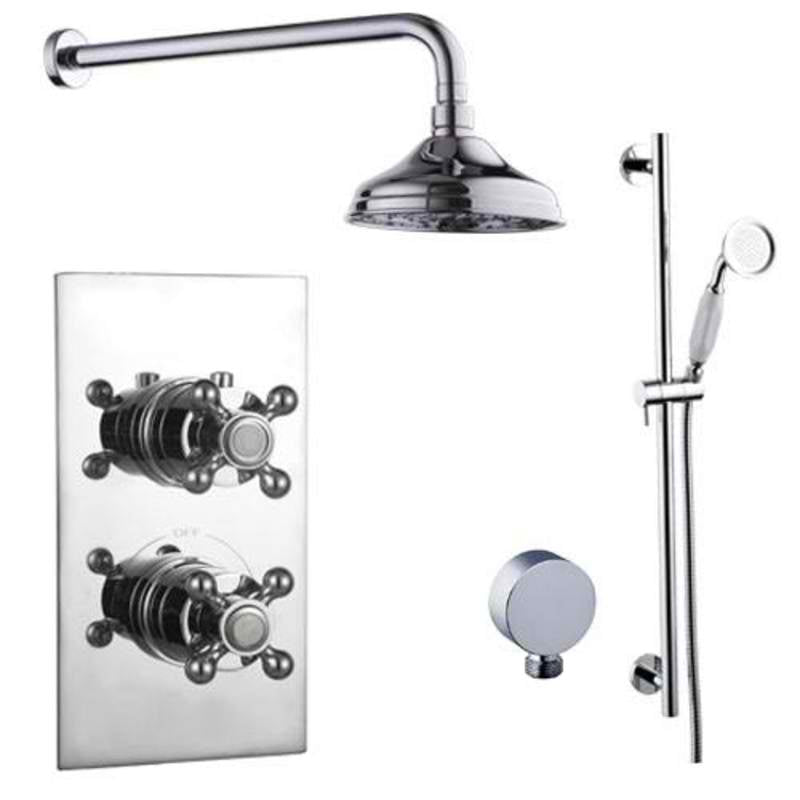 Mayfair OXF400 Oxford Chrome Thermostatic Valve and Shower Arm Front View