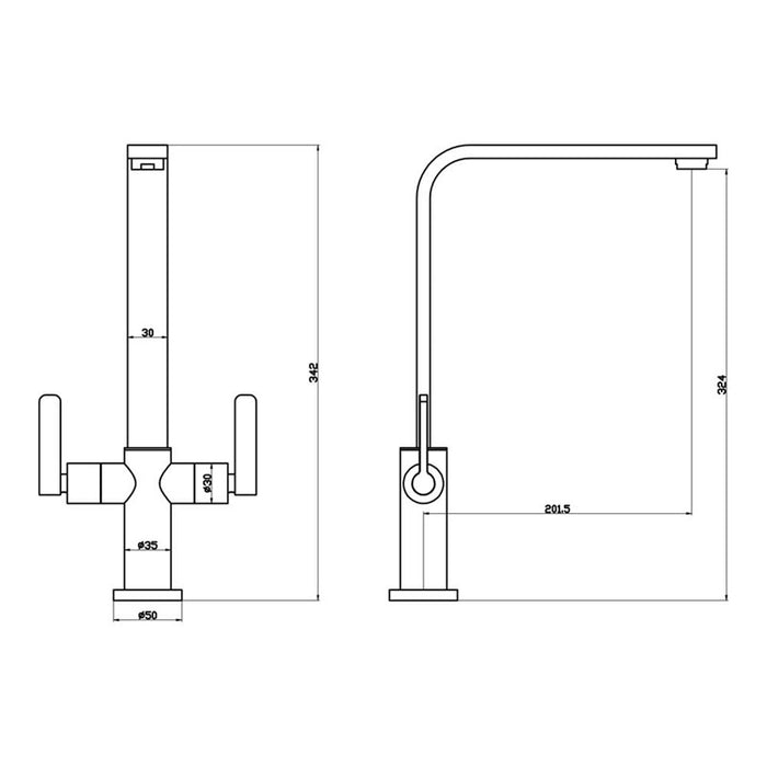 Dimensions of Mayfair Reef Kitchen Mixer Tap