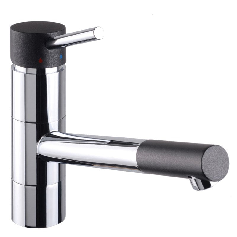 Black/Chrome Monobloc Rota Kitchen Sink Tap Front View