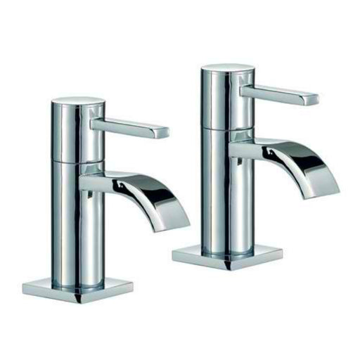 Mayfair RDL003 Wave Chrome Basin Pillar Taps Front View
