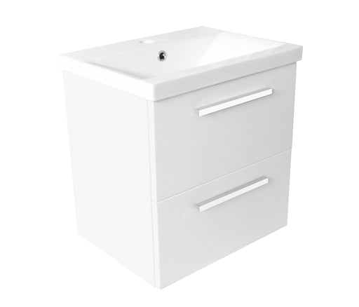 Just Taps Pace 500 White Wall Mounted Unit with Drawers and Basin PWM503W + P500BS