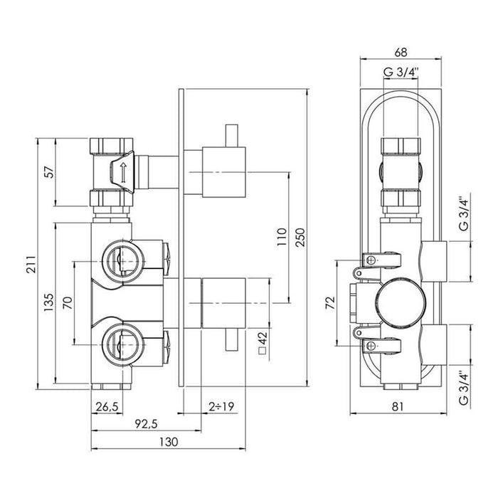 53651 kubix from just taps shower valve dimensions