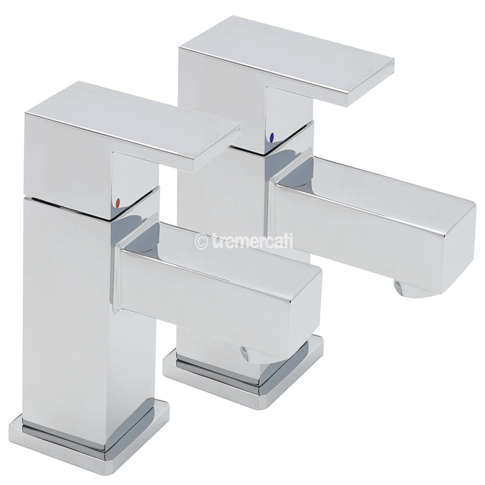 Tre Mercati Edge Chrome 22310 Pair of Basin Taps Full View