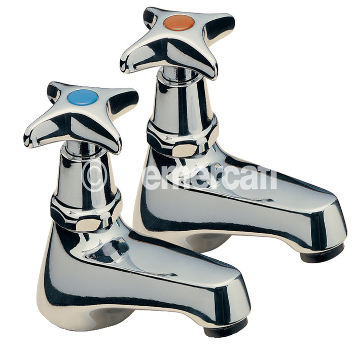 Tre Mercati 341 Chrome Capri Crosshead Pair of Basin Taps Full View