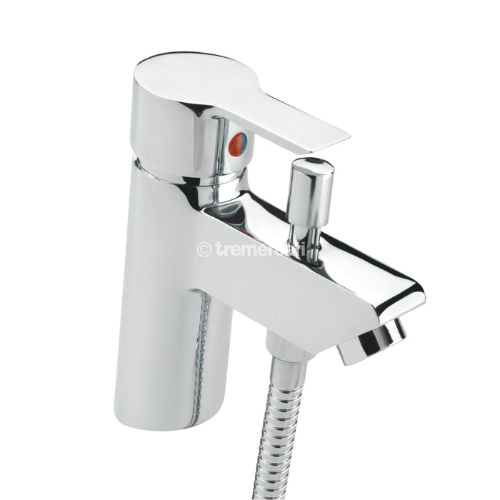 Tremercati 22160 Chrome Angle Mono Bath Shower Mixer Complete with Kit Full View