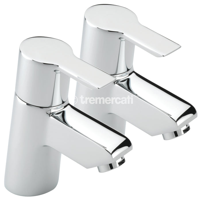 Tre Mercati Chrome Angle 22120 Pair of Bath Taps Full View