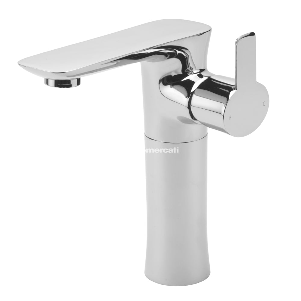 Tre Mercati Balena 24060 Chrome Extended Mono Basin Mixer with Click Clack Waste Full View