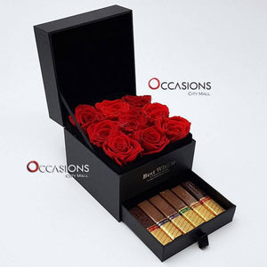 Roses with Chocolate Drawer - s - gift-on-line