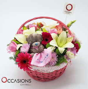 Pink Basket Flowers - gift-on-line