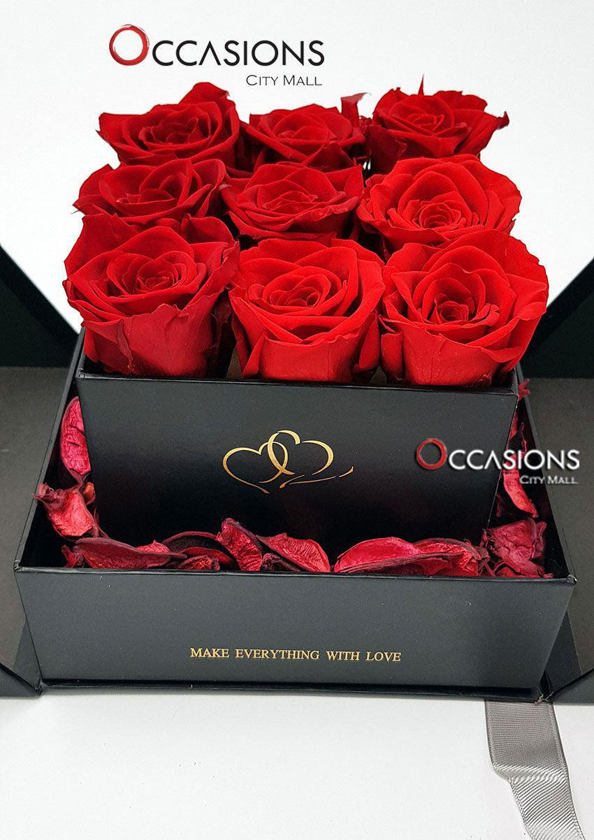 Surprise Roses Box - Black - gift-on-line