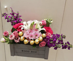Flowers and Chocolate Grey Box Flowerssend_delivery_Amman_Jordan
