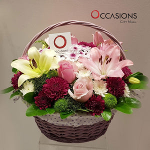 Purple Flower Basket Flowerssend_delivery_Amman_Jordan