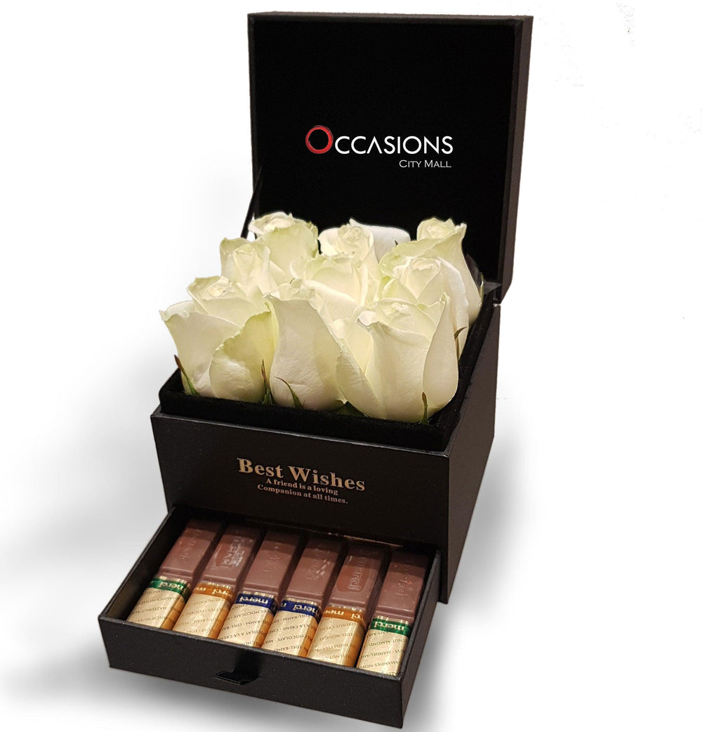 White Roses Box With chocolate Drawer ( Small ) Flowerssend_delivery_Amman_Jordan