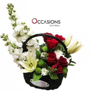 Black Basket Arrangement Flowerssend_delivery_Amman_Jordan