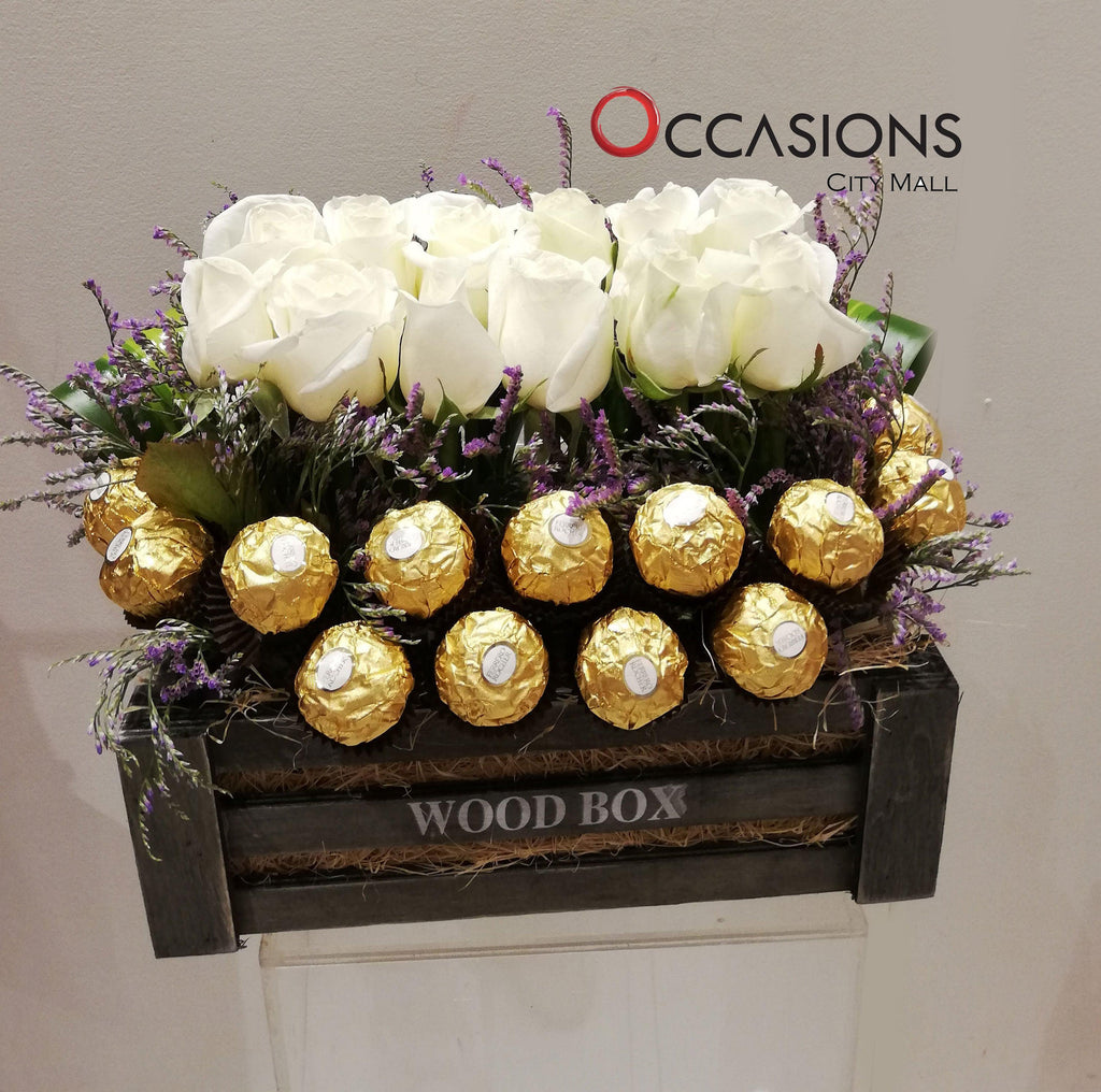 White Roses with Ferrero Wood Box Flowerssend_delivery_Amman_Jordan