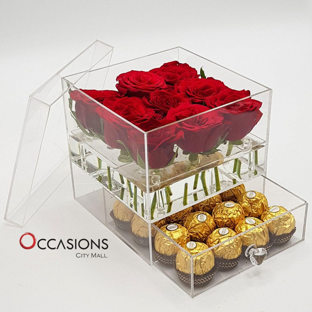 Acrylic Box With Ferrero - Red Flowerssend_delivery_Amman_Jordan