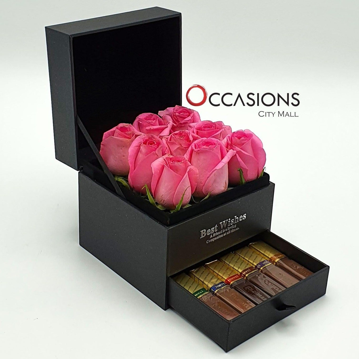 Pink Roses with Chocolate Drawer Flowerssend_delivery_Amman_Jordan