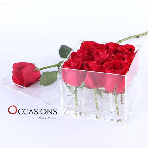 9 Roses in Acrylic box - gift-on-line