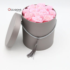 Pink Roses in Silver box Flowerssend_delivery_Amman_Jordan