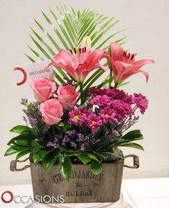 Rustic Box Flower Arrangement -3 Flowerssend_delivery_Amman_Jordan