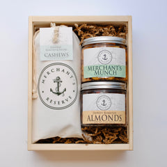 Merchant's Reserve Cashew Cargo Bag Gift Crate with selection of 2 flavored specialty nut jars