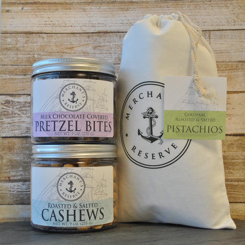 Merchant's Reserve Sweet On You Trio Gift Set: Pistachios, Cashews & Milk Chocolate Pretzel Bites